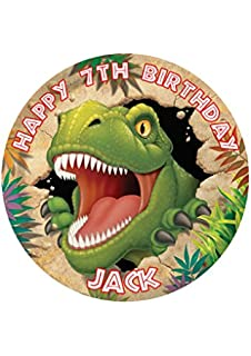 Dino Blast Dinosaur Party Personalized Cake Topper Icing Sugar Paper 75 Image M15