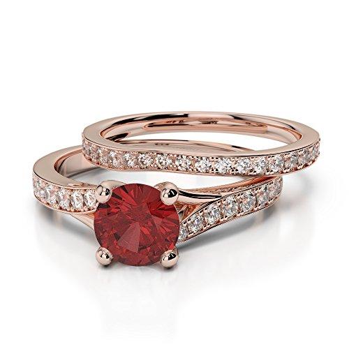 Or Rose 18carats 1CT G-H/VS sertie de diamants ronds Cut Grenat et mariée Bague de fiançailles et ensemble de Agdr-2011