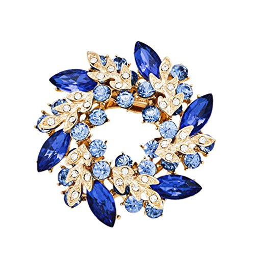 (Crystals Flower Silk Scarf Brooches Women Pins Clip Buckle Rhinestone Broche Gifts Xuanhemen)