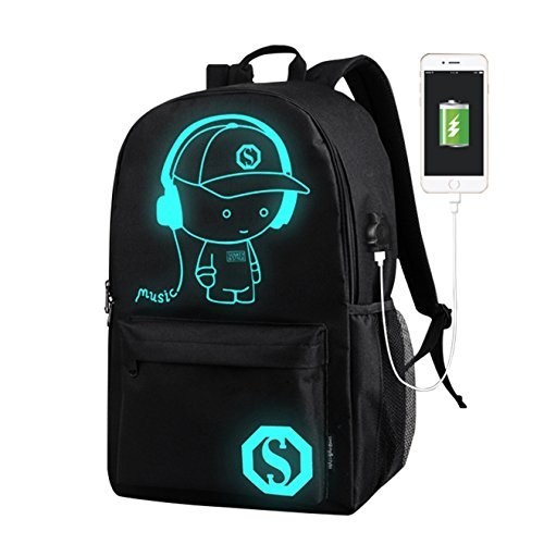 Anime Backpack for School, SKL Luminous Backpack Canvas Cartoon Backpack with usb Cable and Lock and Pencil Bag for Teens Girls Boys-Black by S.K.L