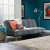Convertible Gray Finished Futon Sofa, Click-Clack technology, Leather-like Upholstery, Durable Wood Frame Construction, Living Room Furniture, Bundle with Expert Guide for Better Life