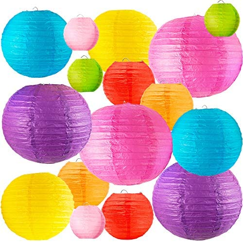 Squisite Paper Lanterns 16 Pcs [Upgraded Version] - Chinese/Japanese Lanterns (Multi-Coloured Sizes of 4\u201d 6\u201d 8\u201d 10\u201d) - Decorative for Home Decor Weddings and Parties