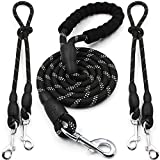 Double Dog Leash - heytech Reflective Dual Dog Leash for 2 Dogs, 5 ft Main Rope with Two 2 ft Auxiliary Ropes, Double Dog Leash 360° Swivel No Tangle Walking (Black)
