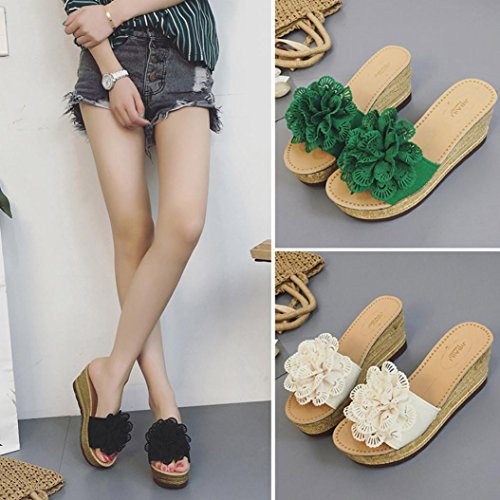 Upxiang Frauen Sommer Floral Plattform Sandalen Hausschuhe Schuhe High Heels Wasserdicht Keil Sandalen Beige