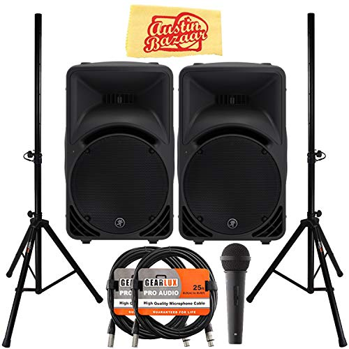 - Mackie SRM450v3 1000-Watt Portable Powered Loudspeaker Bundle with 2 Speakers, Stands, XLR Cables, Microphone, and Austin Bazaar Polishing Cloth