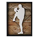 "NIKKY HOME Outdoors Sports Baseball Wooden Framed Wall Art, 12"" x 16"""