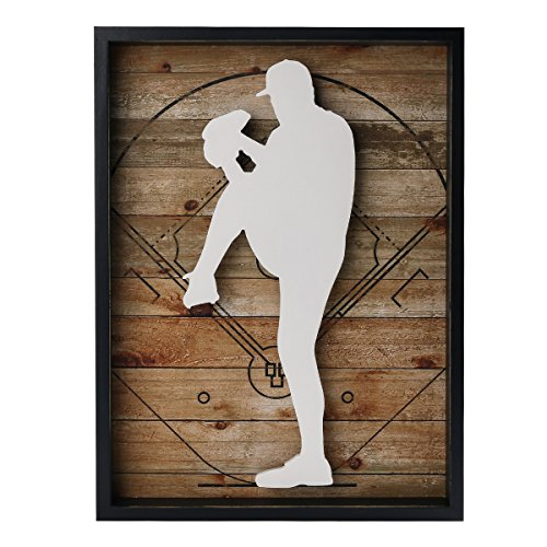 NIKKY HOME Outdoors Sports Baseball Wooden Framed Wall Art, 12