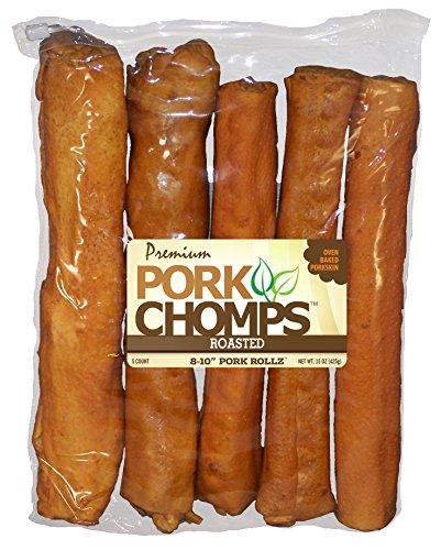 Rawhide Pork Roll - Scott Pet Products 5 Count Pork Chomps Roasted Rollz Treat, 8-10