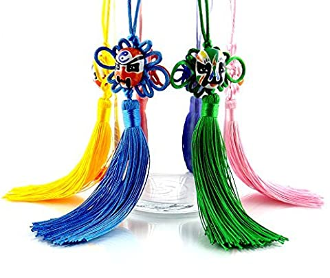 Zone – 365 Silk and Bamboo Chinese Knott Tassels, Unique Hand Painted Gifts, Set of 6 (Multi - Silver Horse Coin Set