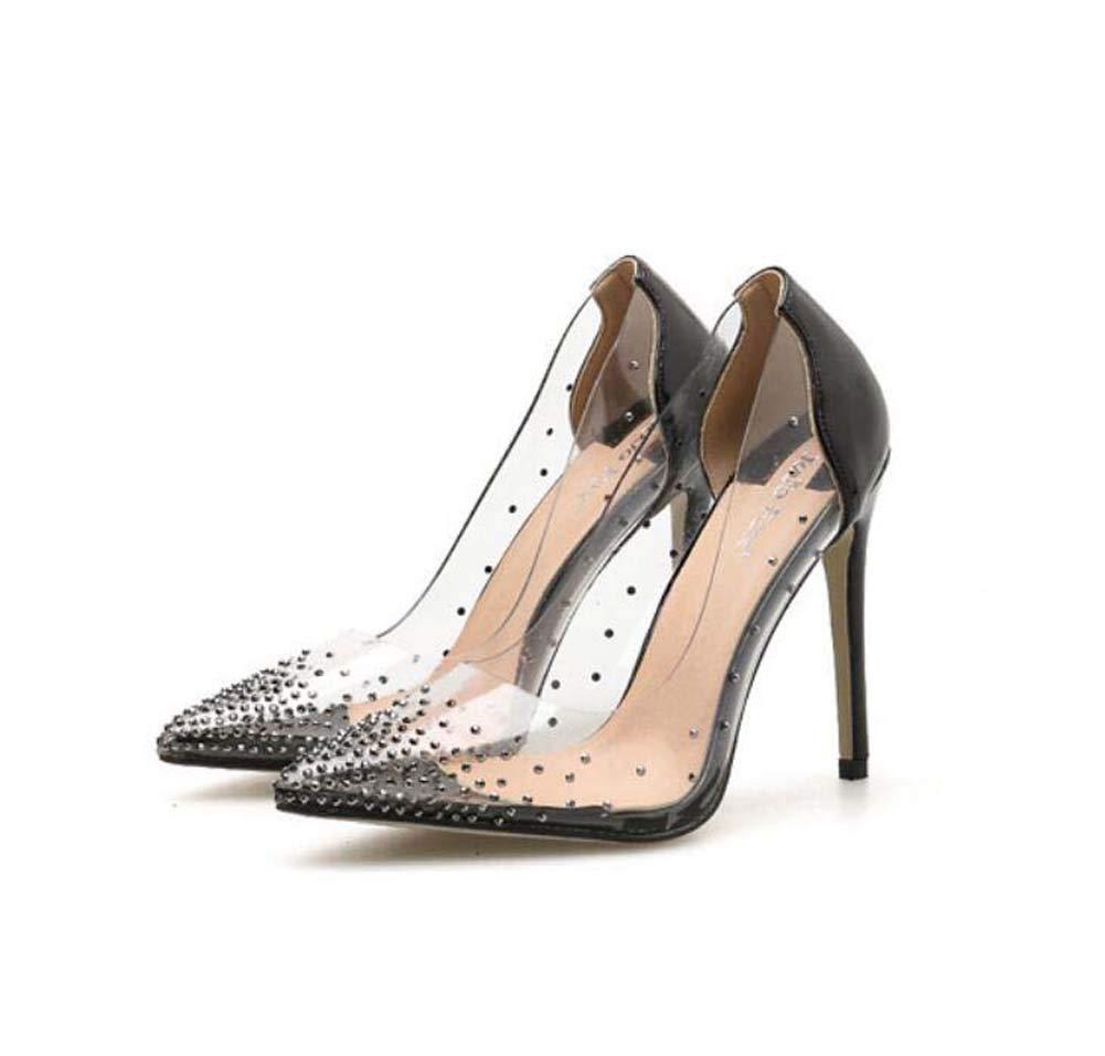 Mamrar Frauen Pumpen Transparente High Heels Spitze Zehen 11Cm Stiletto Farbe Passend Rhinestone Kleider Schuhe Kristall Schuhe EU-Größe 35-40