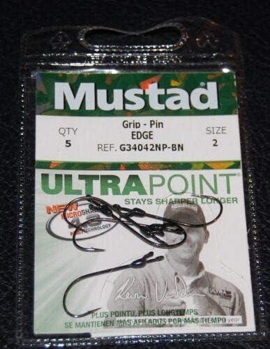 Mustad G34042NPBN-02 GRIP PIN Edge Straight Shank Bass Hooks Size 2 Pack of 5
