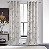 KoTing Polyester Pastoral Style Elegant Abstract Hand Painted Orchid Plant Print Thermal Insulated Blackout Lined Curtains Drapes Grommet Top,1 Panel,50W by 100L-Inch