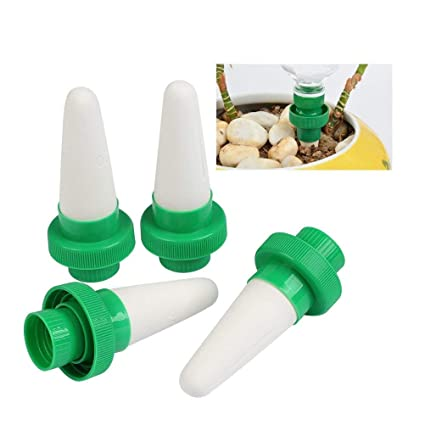 TIMESETL 4pcs Automático Planta de riego por agua dispensador cono cerámica cabeza planta vertedor riego por