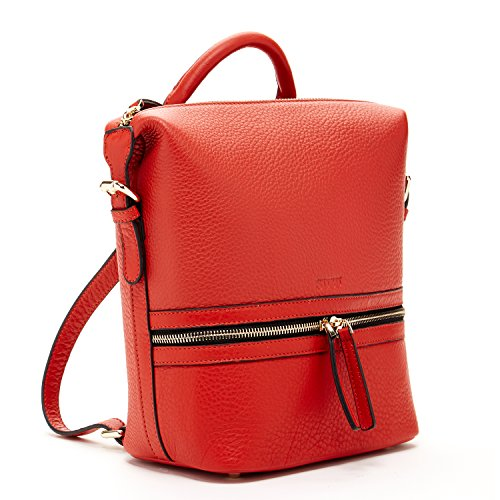 SUSU Red Leather Backpack with Zipper Genuine Pebble Leather Medium Size Backpacks For Women Designer Handbags for Girls Fashionable Purses Burnt Sienna by SUSU