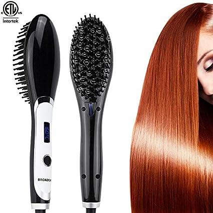 Broadcare - Cepillo térmico alisador, plancha para cabellos con temperatura regulable y pantalla LCD,