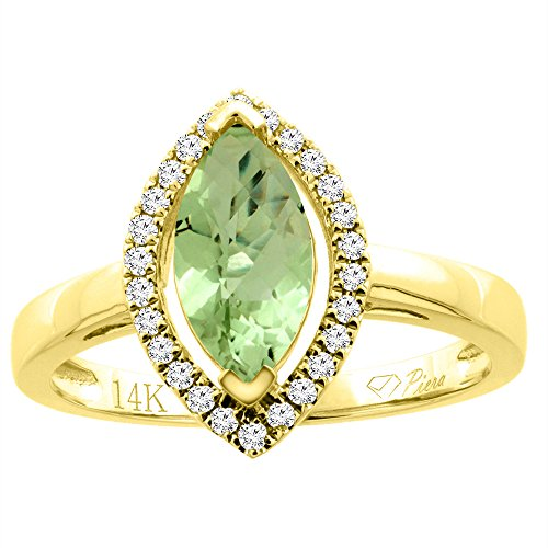 14K Yellow Gold Natural Peridot Halo Ring Marquise 10x5 mm Diamond Accents, size (Gold Marquise Peridot Ring)