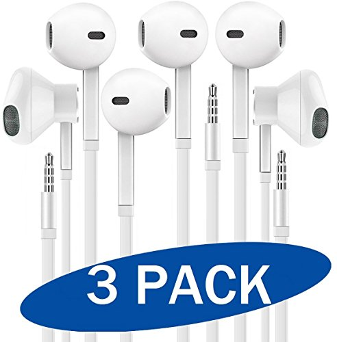 Headphones with Microphone, Certified XPOWER In-Ear 3.5mm Noise Isolating Earphones Sport Headset for iPhone iPad iPod Laptop Samsung Tablet Android LG HTC Smartphones (White) 3-Pack ()