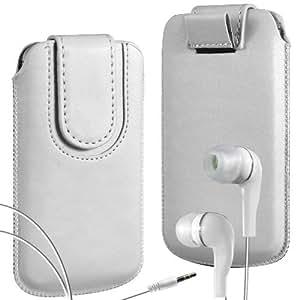 Online-Gadgets UK - Samsung Galaxy S4 Mini i8190 superior de la PU del cuero del caso del tirón de la bolsa con pestaña cierre magnético y Coincidencia Auriculares ergonómicos - Blanco