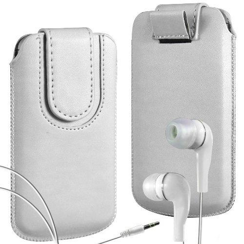 N4U Online - Apple Iphone 4 haut de gamme en cuir PU Tirez cas de secousse Tab Housse Etui avec sangle fermeture magnétique et assortis intra-auriculaire - Blanc