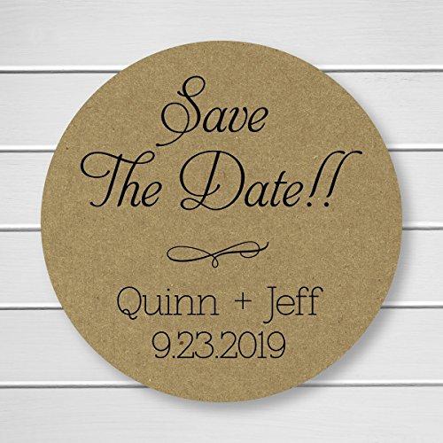 Save the Date Kraft Wedding Envelope Seals/Stickers (#159-KR)