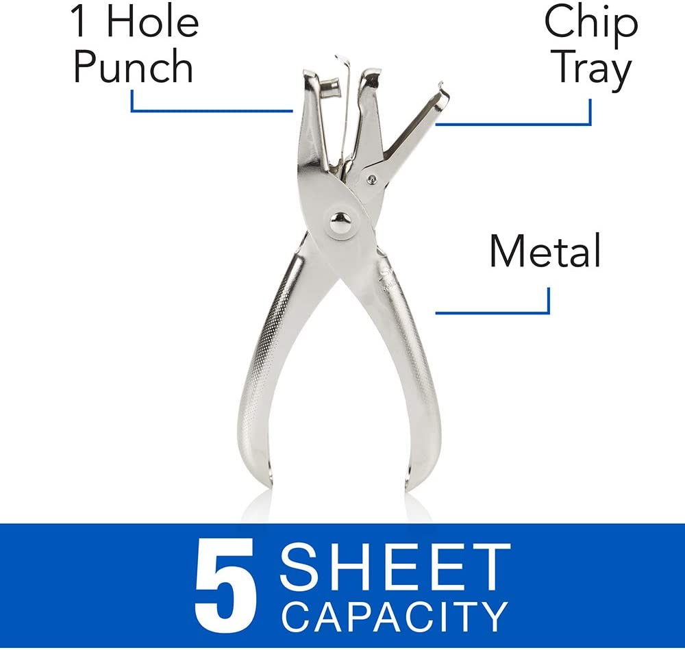 Swingline 1 Hole Punch, Single Hole Puncher, 5 Sheet Capacity, Classic Office Paper Punch for Craft Paper, DIY Crafts, Perfect for Home Office School Supplies, Chrome (74005) : Single Hole Paper Punches : Office Products