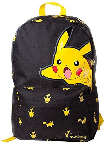 Pokemon Big Pikachu Sac A Dos Toile Imprimé Petit Monstre Japonais (Noir/Jaune) 45 cm 15 litres noir (noir) BIOWORLD
