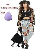 Orangesky Women Floral Print Chiffon Kimono Cardigan Jacket Outwear Blouse
