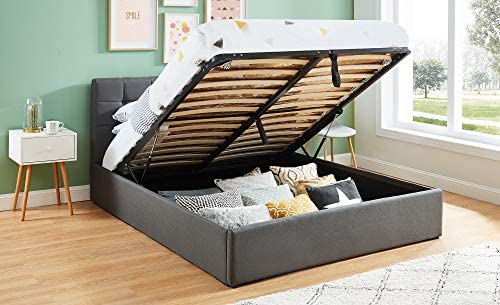 HOMIFAB Cama baúl 160 x 200 Gris Oscuro + somier abatibles – Collection Tommy