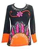 256 Rib Cotton Funky Embroidered Bohemian Sun Gypsy Top Blouse - Large