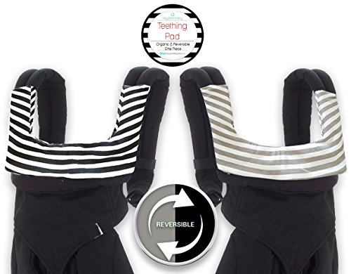 Kaydee Baby ONE PIECE ORGANIC Reversible Drool & Teething Pad With ORGANIC Fleece Inner Lining for Ergobaby and Other Baby Carrier - Variety of Colors Available (Stripes)