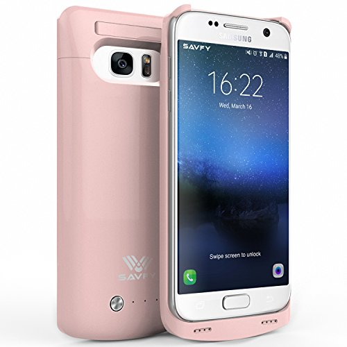 SAVFY Galaxy S7 Battery Case, 4200 mAh Portable External Backup Battery Charger Cover Case Pack for Samsung Galaxy S7 Rechargeable Power Bank Case (Rose Gold)