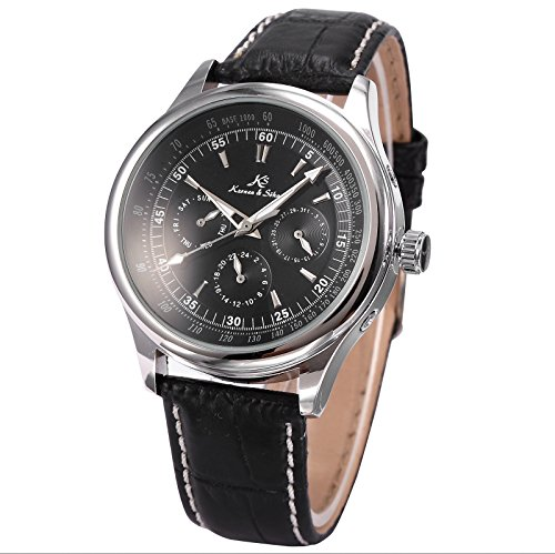 Hand Automatic Watch - Mix&Rock KS Mens Black Dial Date Day 24 Hours 6 Hand Automatic Mechanical Wrist Watch