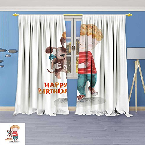 SOCOMIMI 929 Panel Set Digital Printed Window Curtains boy with pup Birthday Draw for Bedroom Living Room Dining Room 108W x 84L inch ()