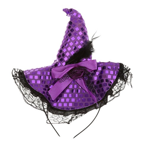 Funny Halloween Decorations Witch Hat Headband Fancy Dress Party Accessories - Purple, 10.5cm
