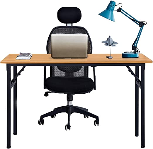 Oferta amazon: Need Mesa Plegable 120x60cm Mesa de Ordenador Escritorio de Oficina Mesa de Estudio Puesto de trabajo Mesas de Recepción Mesa de Formación, Teca Roble Color