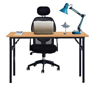 Need Mesa Plegable 120x60cm Mesa de Ordenador Escritorio de Oficina Mesa de Estudio Puesto de trabajo Mesas de Recepción Mesa de Formación, Teca Roble ...