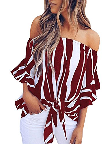 Women's Striped Off The Shoulder Bell Sleeve Tops Shirt Tie Knot Chiffon Casual Blouses (M, Wine Red)