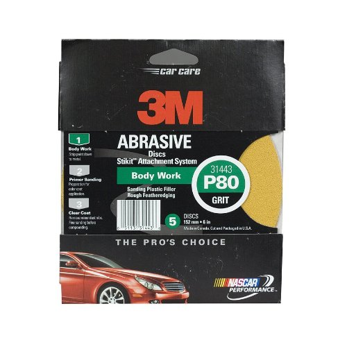 Amazon.com: 3M Sanding Disc, 31439, 6 inch, 180 grit & 3M Sanding Discs, 31443, 6 inch, 80 grit: Automotive