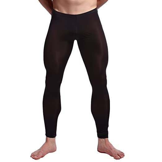 2f4977eb72364 YiZYiF Men's Sexy Mesh Transparent Trousers Long John Night Pants Muscle Tights  Leggings Black Medium
