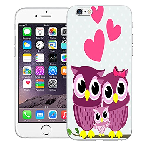 """Mobile Case Mate iPhone 6 4.7"""" Silicone Coque couverture case cover Pare-chocs + STYLET - Pink Love Owls pattern (SILICON)"""