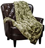 Chanasya Faux Fur Throw Blanket   Super Soft Fuzzy Light Weight Luxurious Cozy Warm Fluffy Plush Hypoallergenic Blanket for Bed Couch Chair Fall Winter Spring Living Room (50 x 65)- Olive Green