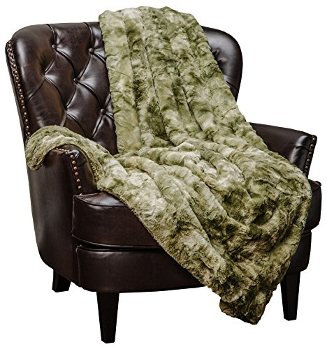 Chanasya Faux Fur Throw Blanket - Super Soft Fuzzy Cozy Warm Fluffy Beautiful Print Plush Sherpa Fleece Olive Green Blanket for Bed Couch Sofa Chair Daybed (50