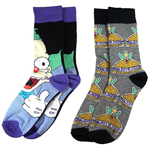Simpsons Krusty Burger - Official The Simpsons Krusty the Clown Assorted Socks (2 Pairs) - One Size