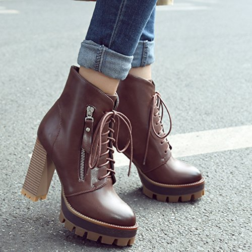 Ankle Boots Lace Vintage Martin AIWEIYi Thick up Womens Boots Brown Heels Women High qPEB8SEwx