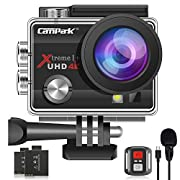 【2021 Upgrade】Campark 4K 20MP Action Camera EIS External Microphone Remote Control WiFi Waterproof Camera Webcam with…
