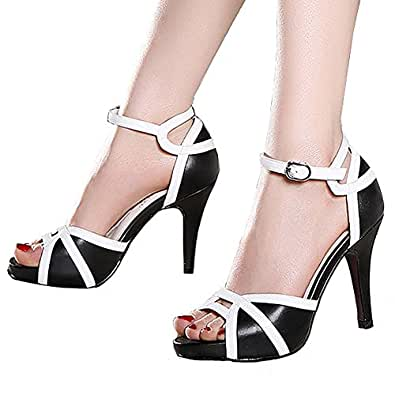Getmorebeauty Women's Black White Peep Toes Vintage Strappy Dress Heeled Sandals 4 B(M) US