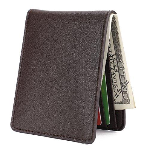 Mens Slim Front Pocket Wallet ID Window Card Case with RFID Blocking - Natural Grain Coffee Boy Bi Fold Wallet