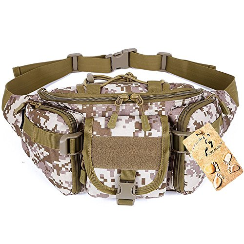 Tactical Waist Pack CREATOR Portable Fanny Pack Outdoor Hiking Travel Large Army Waist Bag Military Waist Pack for Daily Life Cycling Camping Hiking Hunting Fishing Shopping - Desert Digital -