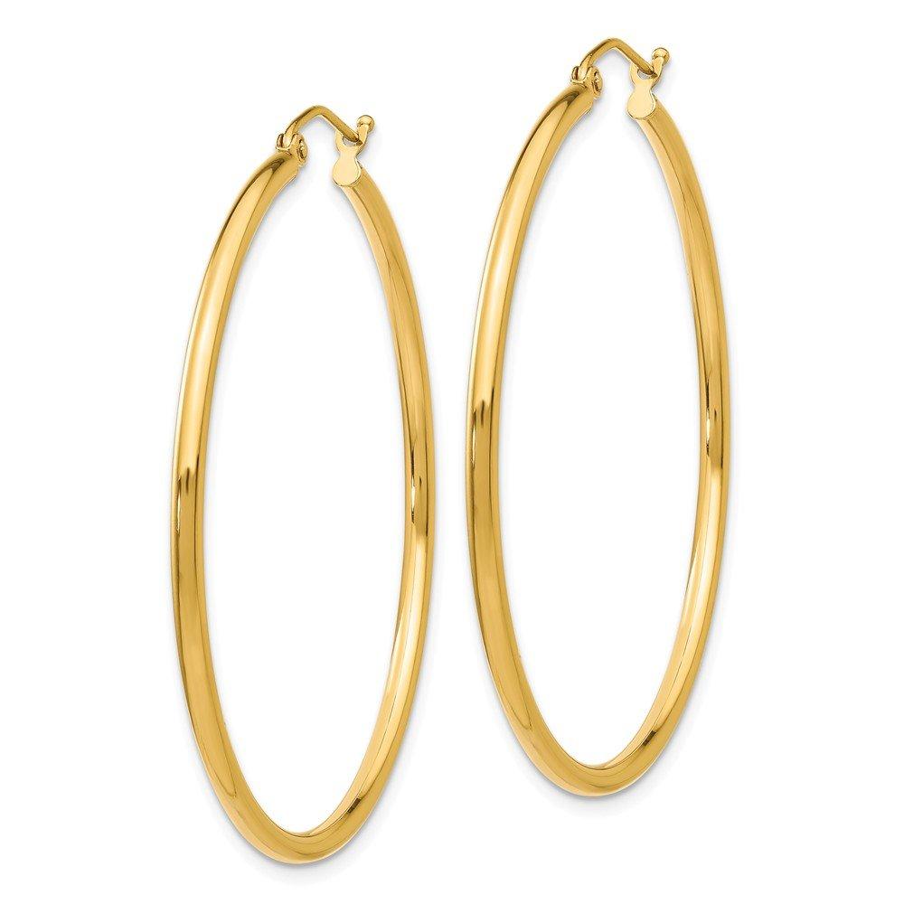 Mia Diamonds 14k Yellow Gold Lightweight Tube Hoop Earrings