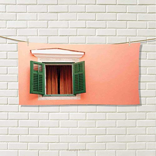 Anshuone Country,Travel Towel,Mediterranean Style Image of Window and Shutters Old House Rural Rustic,100% Microfiber,Orange Green White,Size: W 12'' x L 27.5'' by Anshuone